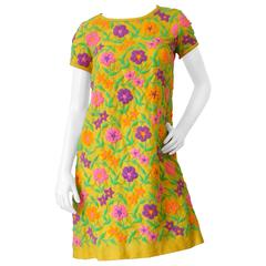 1970s Floral Embroidery Mod Scooter Dress