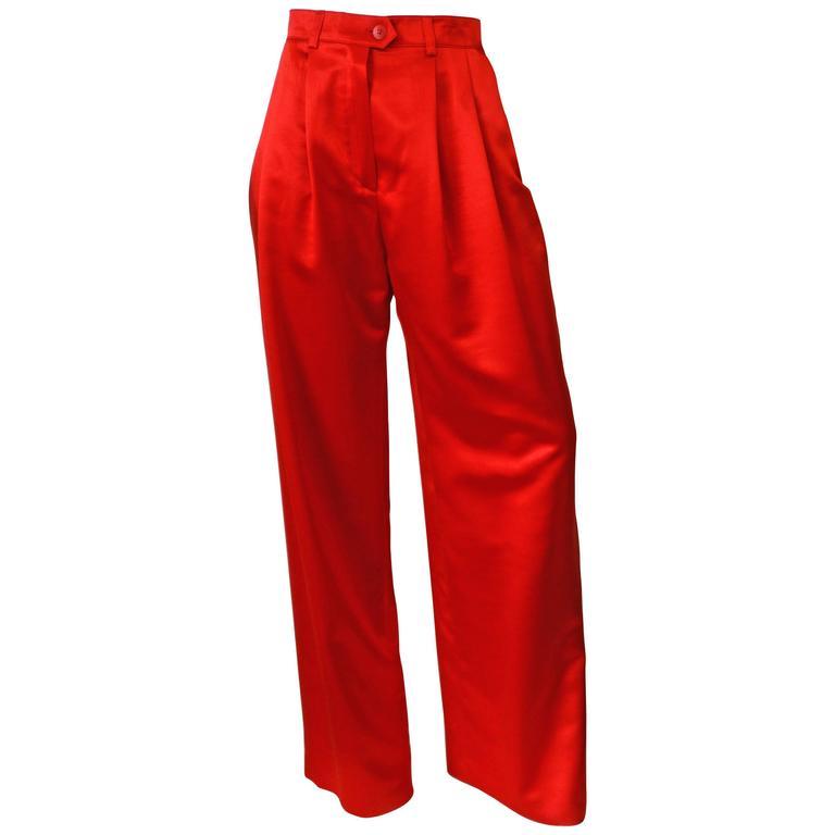 1980s Escada Couture Red Silk Wide Leg Trouser