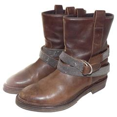 Brunello Cucinelli Leather Boots with Monili Strap Sold out Ret $1945