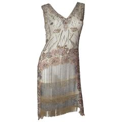 Gorgeous 1920s Beaded, Rhinestone and Sequin Flapper Dress