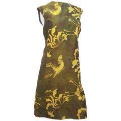 1960s Silk Handmade Olive Green Shift Dress