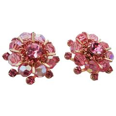 1950s Pink Weiss Crystal Earrings