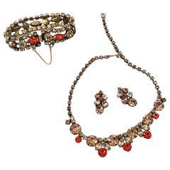 1950s Regency Amber & Orange Rhinestone Set with Earrings, Bracelet and Necklace