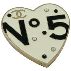 Chanel No. 5 Enamel Heart Brooch Pendant Spring 2006