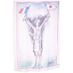Chanel White Silk Scarf with Coco Chanel Sketch by Karl Lagerfeld 2012
