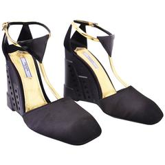 Prada Black Wedge Shoes with Gold Ankle Strap Unworn with Box and Dustbag A/W 14