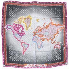 Louis Vuitton 'Monogram Map' Print Square Silk Scarf