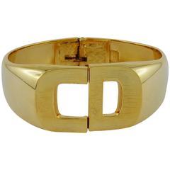 Christian Dior 1972 Gold Toned Signature Clamper Bracelet