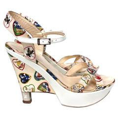 """Chanel White Canvas Heart """"Valentine"""" 2006 Collection Wedge Sandals 39 6"""