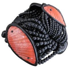 Danish Monies Gerda Lynggaard Shell Horn Cuff Bracelet Signed Unique
