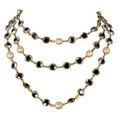"""Chanel Long 56"""" Pearl Glass Chicklet Necklace Clear Gripoix Gold Vintage 1981 CC"""