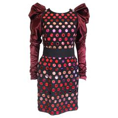 "Dolce & Gabbana Burgundy Disk ""Special Piece"" Fall 2009 Dress 40 uk 8"