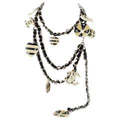 Chanel Charm Necklace - New - Heart Beach Ball Fish CC Logo Black Leather Chain