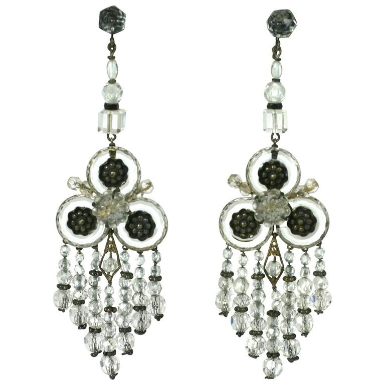 Wonderful Chinese Art Deco Rock Crystal Fringe Earrings For Sale