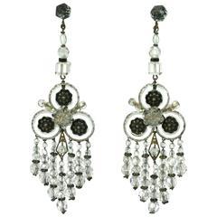 Wonderful Chinese Art Deco Rock Crystal Fringe Earrings