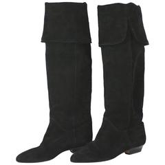 Yves Saint Laurent High Black Suede Boots