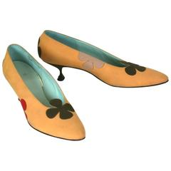 Charming Floral Applique Kitten Heel Pumps, Margaret Jerrold