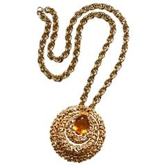 Panetta 1970s Amber Glass and Nugget Style Necklace