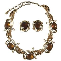 1950s Elsa Schiaparelli Brown Crystal Necklace and Earring Set