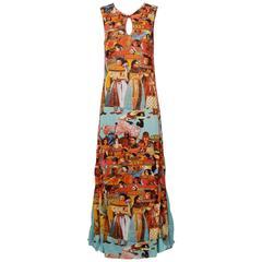 Jean Paul Gaultier Vintage Mesh Faces Maxi Dress