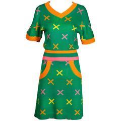 1970s Giorgio Sant'Angelo Vintage Knit Sweater Top + Skirt 2-Pc Dress Ensemble