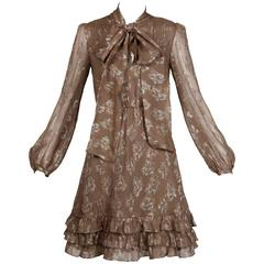 Stella McCartney Metallic Gold + Taupe Silk Dress with Ascot Tie