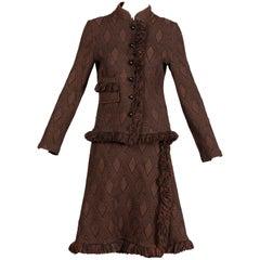 1970s Goldworm Vintage Brown Black Knit Italian Wool Jacket + Skirt Ensemble