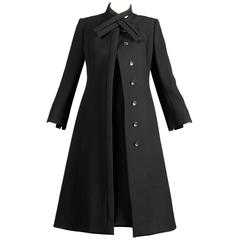 1960s Pauline Trigere Vintage Black Wool Silk Dress + Coat 2-Piece Ensemble