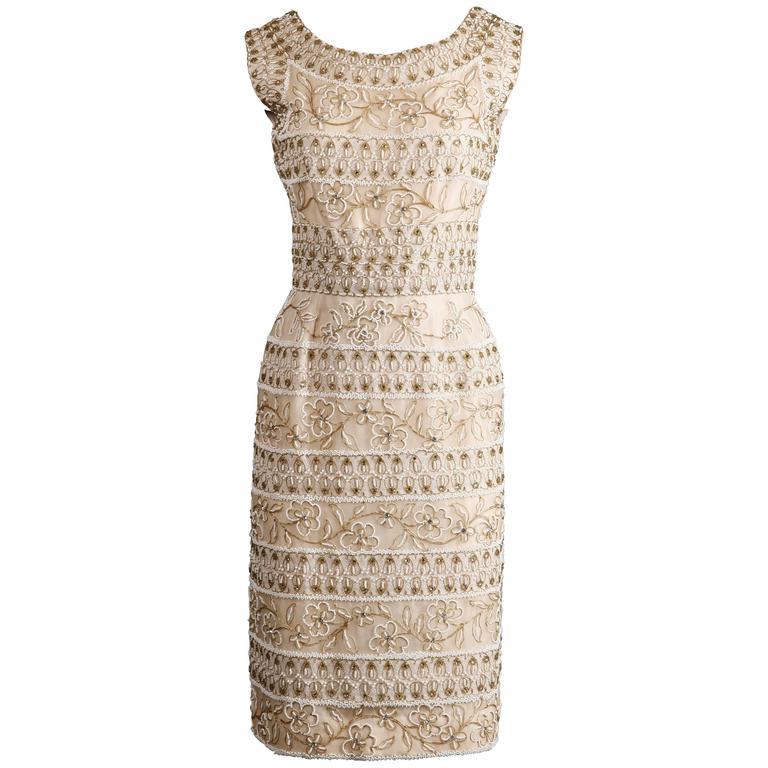 1960s Larry Aldrich Vintage Heavily Beaded Silk Dress with Lace + Rhinestones