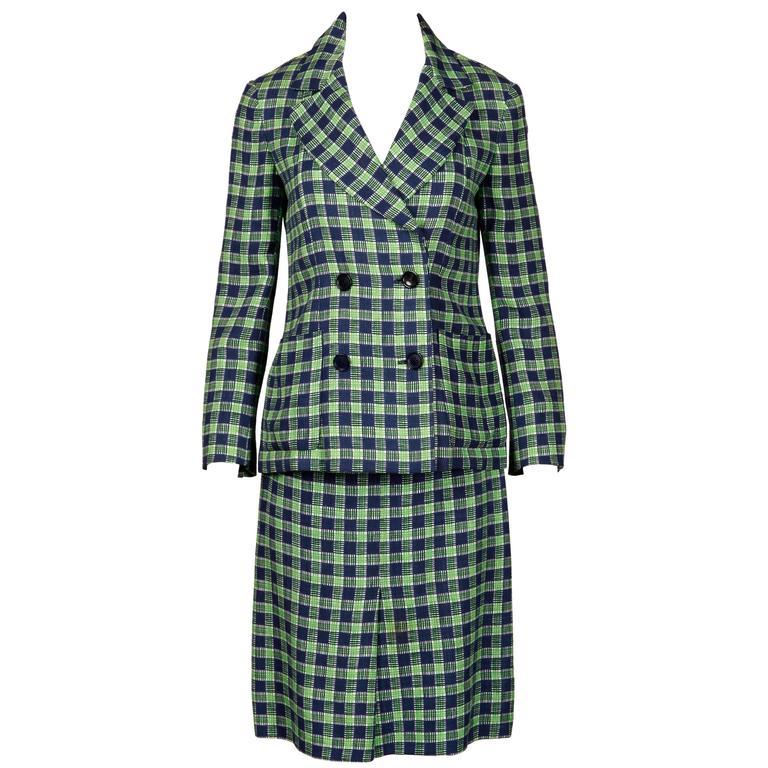1970s Christian Dior Blue Green Wool Plaid Jacket + Skirt Suit Ensemble