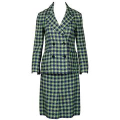 1970s Christian Dior Blue Green Wool Plaid Jacket + Skirt Suit Ensemble