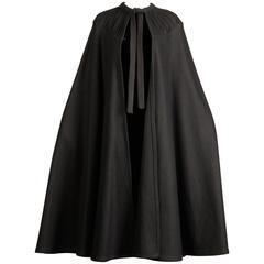 1970s Luba Rudenko Vintage Black Wool Cape Coat