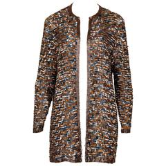 Judith Ann Vintage Sequin and Beaded Silk Cardigan Jacket