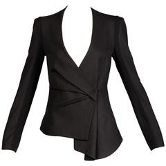 Helmut Lang Black Wool + Silk Asymmetric Avant Garde Blazer Jacket