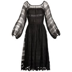1970s Werle Beverly Hills Vintage Black Sheer Silk + Lace Dress