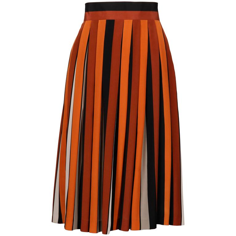 1970s Givenchy Vintage Pleated Silk Striped Color Block Black Rust Orange Skirt For Sale