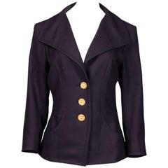 1990s Yves Saint Laurent Vintage Navy Blue Wool Gold Buttons Blazer Jacket