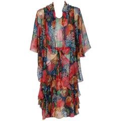 1920's Watercolor Floral-Garden Print Silk Chiffon Tiered Flapper Dress & Jacket