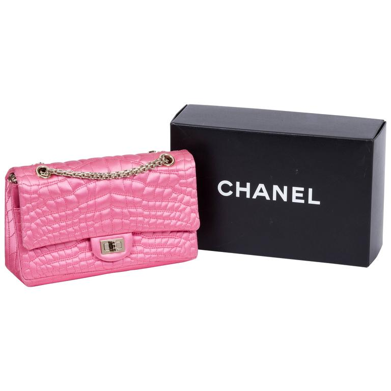 15890571cded Chanel Pink Satin Silk Croc Embossed Double Flap Bag For Sale at 1stdibs