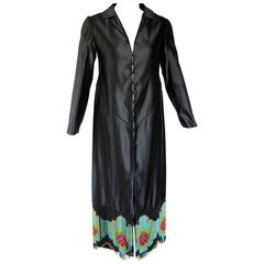 Custom Couture Black Silk Evening Dress Coat with Antique French Beaded Trim