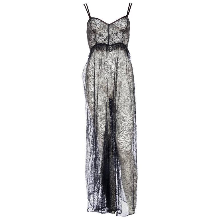 1930 lace black slip dress