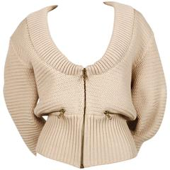 1985 AZZEDINE ALAIA heavy knit cardigan sweater jacket with zippers