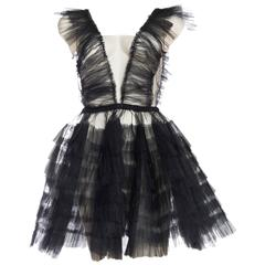 Sheer Pleated Net and Ruffled Tulle Dress