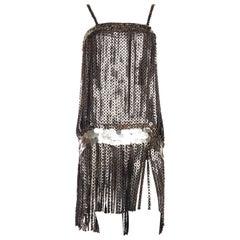 1990S Black Rayon Chiffon Metal Disc Fringe Flapper Style Cocktail Dress