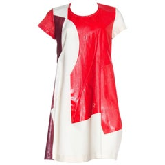 1990S COMME DES GARCONS Red & White Cotton Hand-Painted Patchwork Muslin Dress