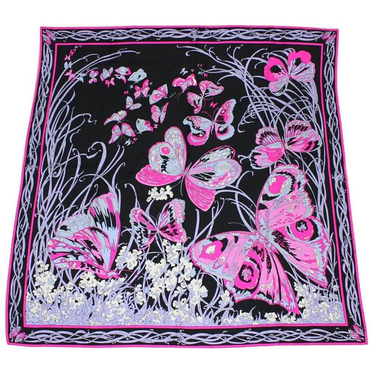 1970's Emilio Pucci Silk Scarf with Butterfly Print