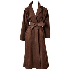 Halston Ultra Suede Belted Wrap Coat