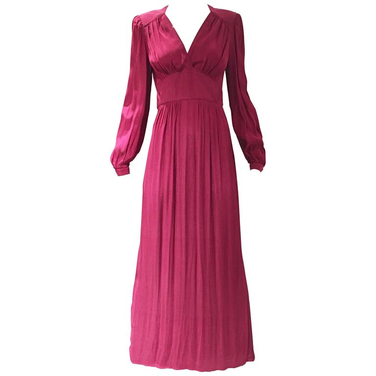 1970s Radley Burgundy V neck Maxi Dress