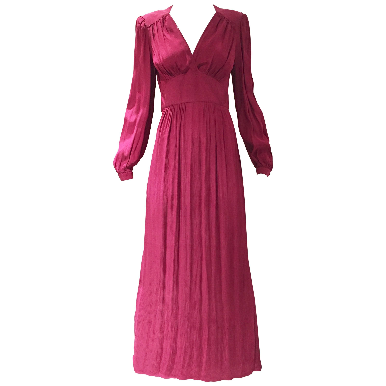 1970s Radley Burgundy V neck Maxi Dress