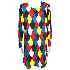 Marni Multi-color Printed Long Sleeves Cotton Dress New